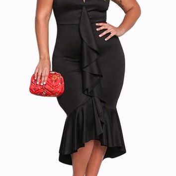 Black Strapless Cascading Ruffle Plus Size Formal Dress