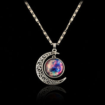 Hot Galaxy Universe Hollow Crescent Moon Glass Cabochon Pendant Silver Tone Necklace (Size: 50 cm) [7654418438]