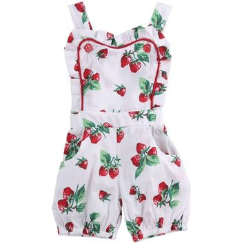 Strawberry Printed Infant Bodysuit Baby Romper