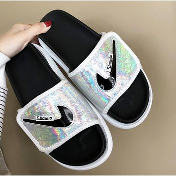 NIKE Summer Fashion Woman Casual Dazzle Color Sandals Slippers Shoes Black