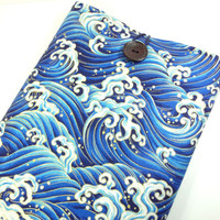 Gift For Him, Kimono 11 inch Macbook Cover, Unique Gift Idea for him, Padded Laptop Sleeve,Japanese Cotton Fabric Waves Blue