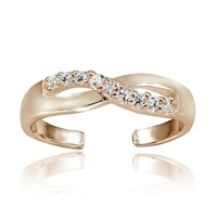 Rose Gold Tone over Sterling Silver Cubic Zirconia Infinity Toe Ring