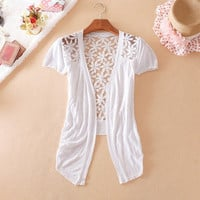 Ctrlstyle fashion clothes women 2013 Slim cutout cardigan sweater air conditioning shirt crochet lace short-sleeve sweater (Size: M) = 5709693889