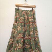 Vintage Gunne Sax Style  Floral printed cotton skirt from 70s