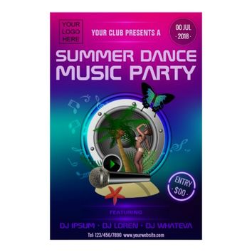 Club Summer Dance Music Party add logo Poster
