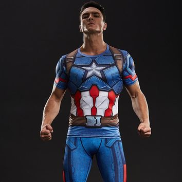 Captain America Civil War Tee 3D Printed T-shirts Men Compression Avengers Iron Man Cosplay Costumes Fitness Clothes Male Tops