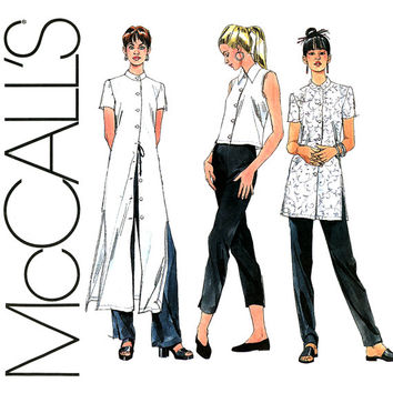 Blouse and Tunics Pattern Uncut Bust 40 42 McCalls 2156 Kurtis Mandarin Collar Shirts Overblouse Maxi Shirtdress Womens Sewing Patterns