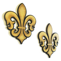Fleur de Lis wall hanging pair, hand painted black and antiqued gold stacked wooden fleur de lys wall decor, Mardi Gras decorations