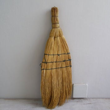 Hand Whisk Broom, Farmhouse  Decor Wall display, Primitive Straw Broom, Rustic Kitchen Decor, Vintage Kitchenware, Woodland Cabin Decor