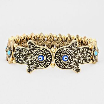 Hamsa Evil Eye Gold Plated Stretch Bracelet