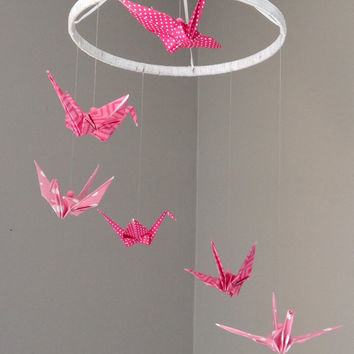 Baby mobile , pink origami crane mobile , six cascading cranes