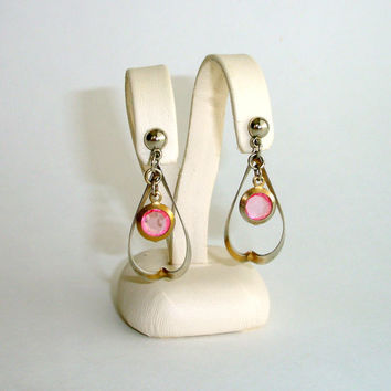 Vintage Hoop Earrings, Pink Glass Dangle Earrings, Bevel Set Faceted Glass, Gold Tone 1980s Earrings, Pierced Post, Estate Costume Jewelry
