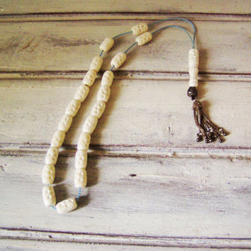 Camel bone worry beads, white, carved camel bone beads on blue cord, silver and bone worry beads set, Greek komboloi, prayer mala, mens gift