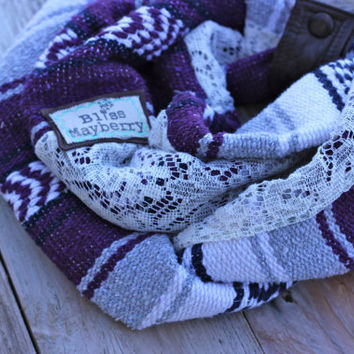 Heidi Beth Loopdy Scarf Limited Edition Navajo Style with grey and purple tribal detail, leather cuff, & super cozy