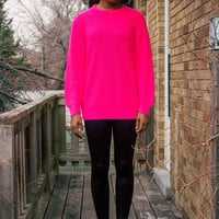BRIGHT Neon Pink Vintage Sweater Size Small/Medium