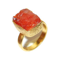 Carnelian Ring - Gemstone Ring - 18K Yellow Gold Ring - Red Stone Ring, Bezel Set Ring, Gold Carnelian Ring, Party Wear Ring - Gift For Her