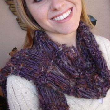 Sale Purple Vista Hand Knit Scarf - Extra Long -One of a Kind