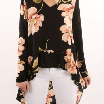 Black Flowers Draped Swallowtail High-low V-neck Bohemian Blouse