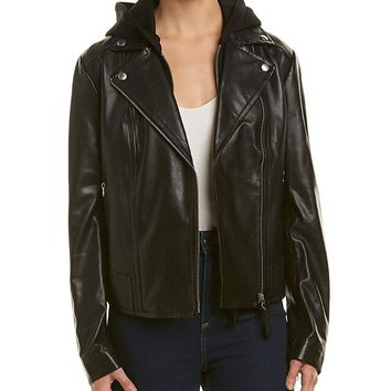 Mackage Women's Yoana Leather Jacket with Removable Hood