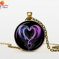 DRAGON Heart Necklace heart from dragon pendant valentine day gift dragon jewelry heart pendant for men for her for him his and her