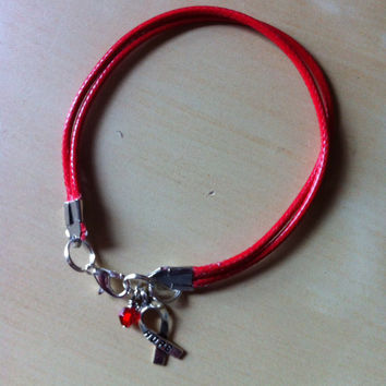 Red Awareness Cotton Bracelet - Heart Disease - Lymphoma - Stroke - HIV - MADD - DARE - Alcohol Drug Prevention  & much more