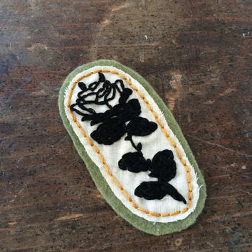 Rose hand-embroidered patch