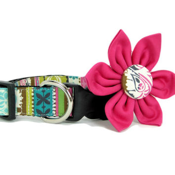 Dog Collar with Flower set- Fuchsia Pink Floral (Mini,X-Small,Small,Medium ,Large or X-Large Size)- Adjustable