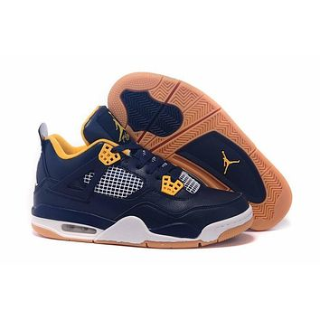 Air Jordan 4 Retro Aj4 Navy/yellow Sneaker Shoes Us Size 8 13 | Best Deal Online