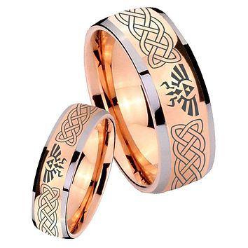 His Hers Rose Gold Dome Celtic Zelda Two Tone Tungsten Wedding Rings Set