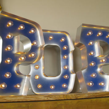 As Seen on Kate Spade Blog - POP with GOLD edging and Chicago Style Lights: Carnival Letters Light Up Letter Lamp and Marquee Letter Sign