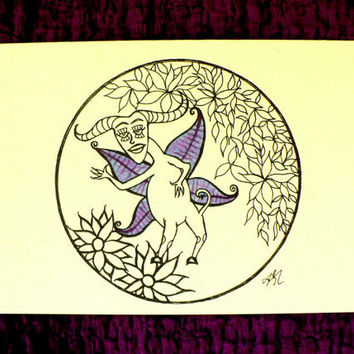 Fantasy / Folk  - Fae Creature - Hand Painted, Greeting Card w / envelope - Recycled Paper - IntricateKnot