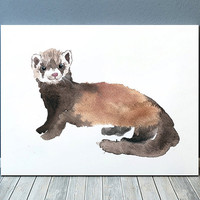 Ferret poster Watercolor art print Cute nursery decor ACW191