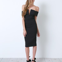 Power Player Off-Shoulder Dress - Black