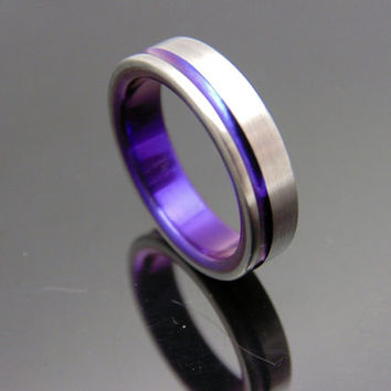 Titanium ring with offset anodized Purple pinstripe