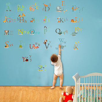Children Alphabet Wall Decal stickers,abc Decal for Kids,Animal Alphabets Decal A-Z stickers kids letters wall decal nursery decals