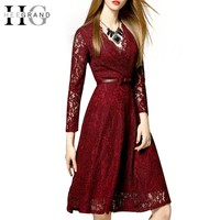 Spring Solid Vintage A-Line Women Dress V-Neck Lace Knee-Length Dresses Hollow Out With Sashes