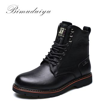 Tactical Waterproof Winter Warm Snow Boots Men Vintage Leather Motorcycle Ankle Martin High Cut Male Casual Clearance