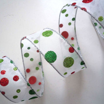 "Christmas wired ribbon Sparkle Glitter Lime Green Red Polka Dots Wedding Decorations Arts Crafts Christmas ribbon wreaths make 1.5"" 5yd"