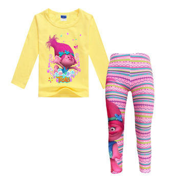 2017 Spring Autumn Kids Trolls Long Sleeve T-shirts & Pink Long Leggings for Girls Cotton Soft Clothing Set Teens Casual Suit