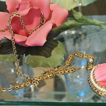 1940s Western Germany Necklace Pendant Pink Slag Glass Givre Glass Cabochon Faux Seed Pearls Filigree Setting Antique High Fashion Jewelry