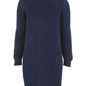Rib Grunge Funnel Neck Knitted Dress | Topshop