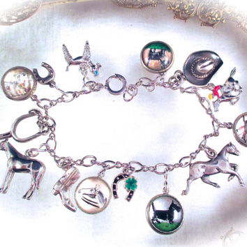 Vintage Equestrian STERLING CHARM BRACELET Sterling Silver Essex Crystal Reverse Painted Bubble Glass Charm Bracelet Fox Hunt