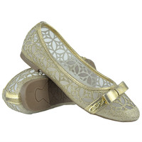 Kids Ballet Flats Lace Mesh Bow and Chain Casual Slip On Shoes Gold SZ