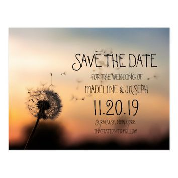 Dandelion Evening Save the Date Postcard