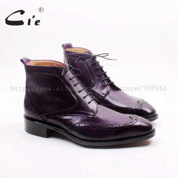 cie square toe wingtip lace-up calf leather boot bespoke handmade genuine leather purple men's boots Goodyear welted A157