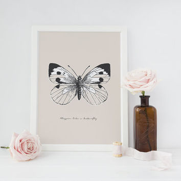 Butterfly Print, Vintage Art, Wall Decor, Insect Art, Butterfly Illustration, Minimal Wall Art, Insect Wall Art, Vintage Butterfly Poster