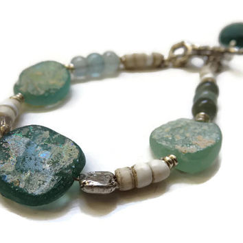 Ancient Roman Glass, Antique Dutch Glass Beads, and Moss Aquamarine Sterling Silver Bracelet ... History for the Wrist