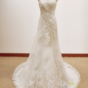 Cloris/bridal dress/wedding gown/bride/fishtail/sweetheart neckline/all size/lace/custom made