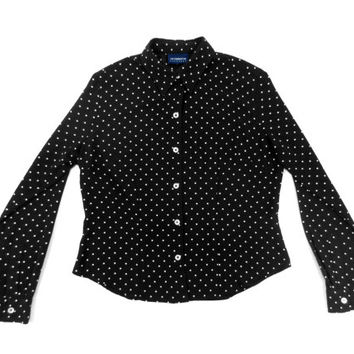 Polka Dot Shirt - Black Button Down Blouse Minimal 90s Grunge Goth - Women's Size Large Lrg L