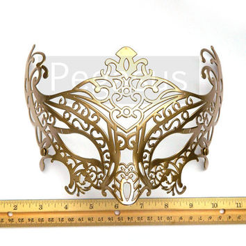 Steampunk Bronze Gunmetal Tone Mask base (3 Mask) Two Tone Lace Filigree Pattern Venetian Mask  - Masquerade ball costume or elven wedding